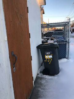 A garbage bin outside of Chevra Mishnayes Synagogue on Jefferson was spray-painted with a swastika. (SUPPLIED)