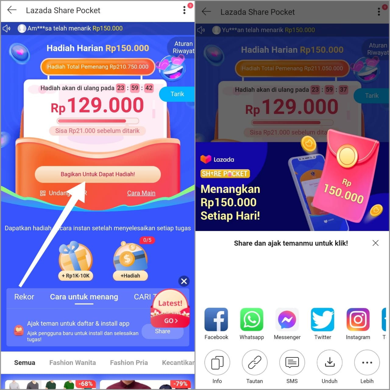 Cara Main Lazada Share Pocket dan Mendapatkan 150k