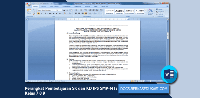Perangkat Pembelajaran SK dan KD IPS SMP-MTs Kelas 7 8 9