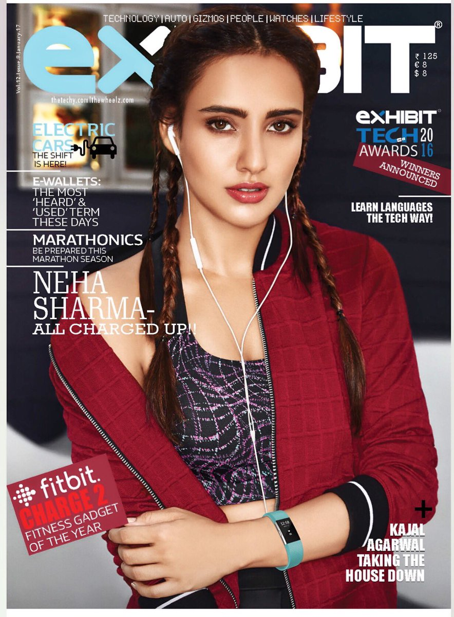 Neha Sharma in Red Jackett Choli on Cover Page of Exhibit magazine January 2017 Exhibit magazine January 2017