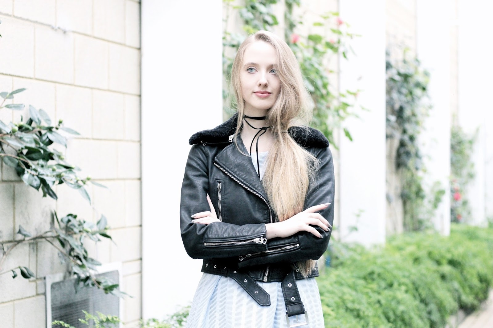 Styling a leather jacket with a pretty dress