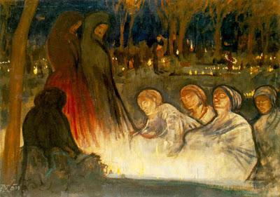 Πίνακας του Aladar Korosfoi-Kriesch «Ημέρα των Νεκρών» 1910 Ουγγρική Εθνική Πινακοθήκη, Βουδαπέστη