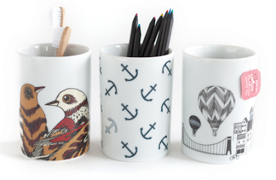 three pencil cups