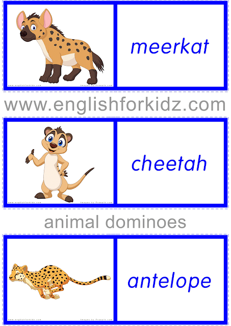 ESL domino game: African animals