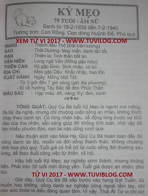 Tu vi 2017 Ky Mao 1939 nu mang