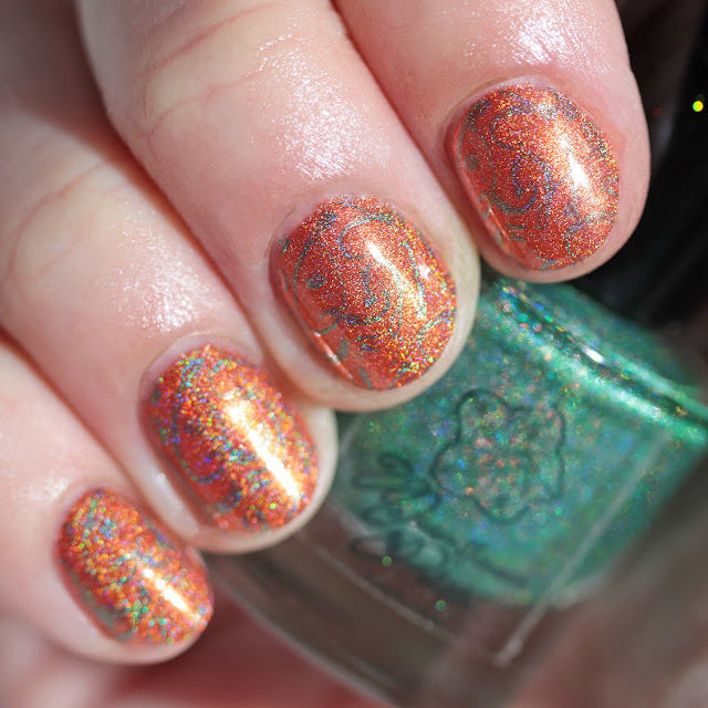 Moonflower Polish Esmeralda (Emerald) stamped over Citrino (Citrine)