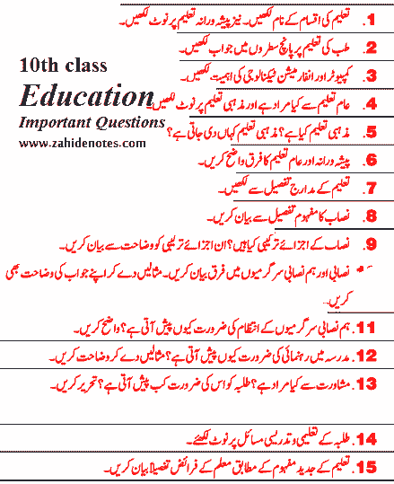 education important questions 2021 smart syllabus for class 10