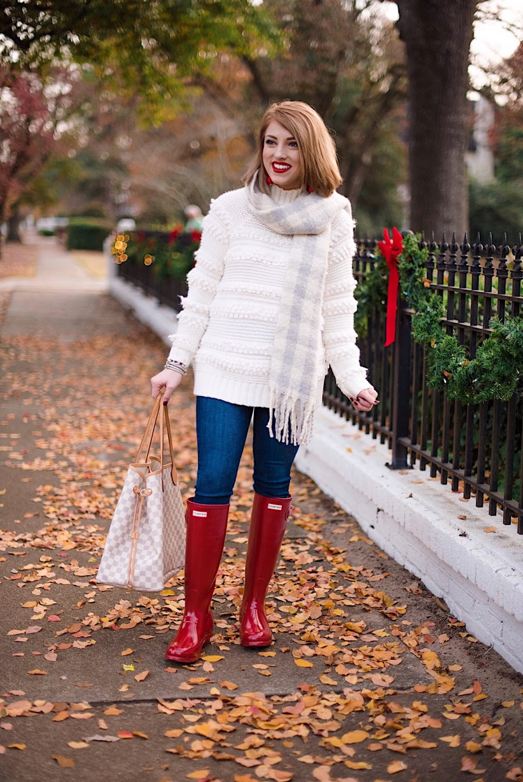 Holiday Style: Lou & Grey Snowbird Sweater + Red Hunter Boots - Something Delightful Blog