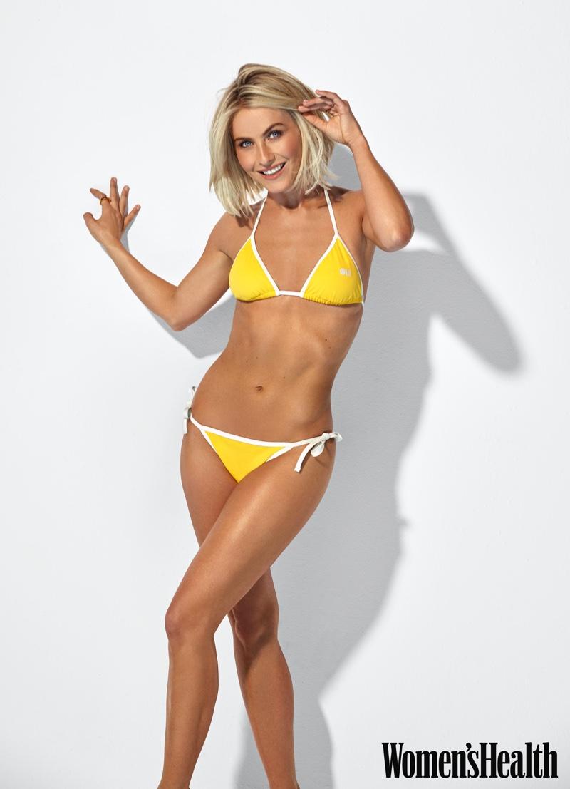 Julianne Hough wears yellow Solid & Striped bikini.