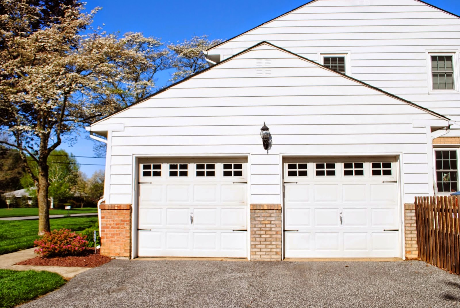 Vinyl, faux carriage garage doors