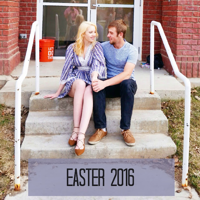 Spending Easter 2016 with my boyfriend preparing Easter egg hunts and Easter dinner. Accidental matching with our blue outfits and brown shoes!
