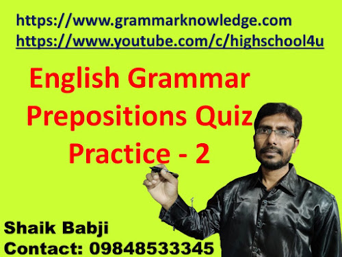 English Grammar Prepositions Quiz Practice - 2