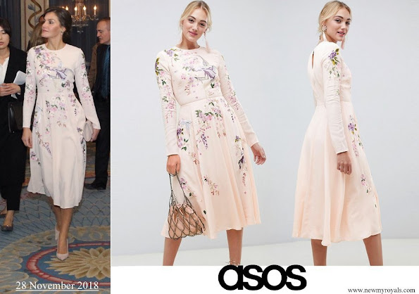 Queen Letizia wore Asos Design Tall midi dress with pretty floral and bird embroidery