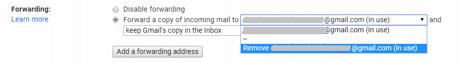 delete forwarding to email address