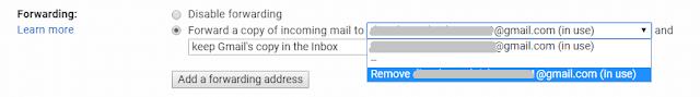delete forwarding to email address