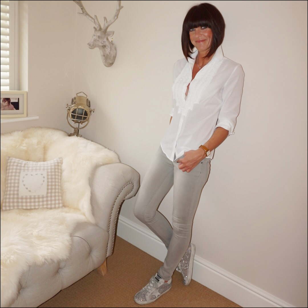 my midlife fashion, Hawes and curtis womens boutique white semi fitted Relaxed fit with frill detail, massimo dutti skinny grey jeans, golden goose superstar low top glitter trainers