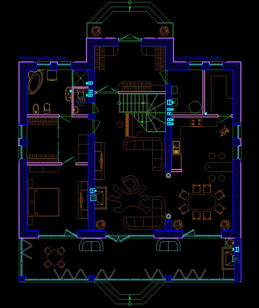 European Style Duplex House Plan