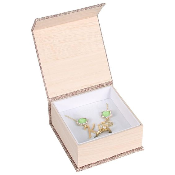 #PJ6C Deluxe Burlap Ring and Pendant Box