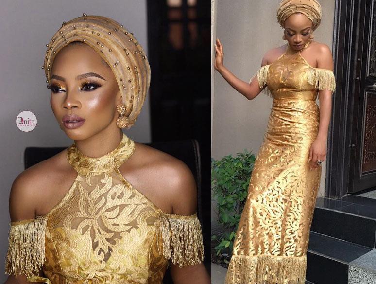 Too cute for TV: OAP Toke Makinwa stuns in gold dress