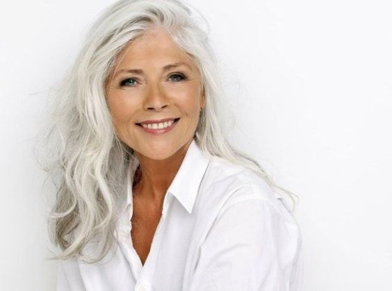 image result for gorgeous skin grey hair white shirt