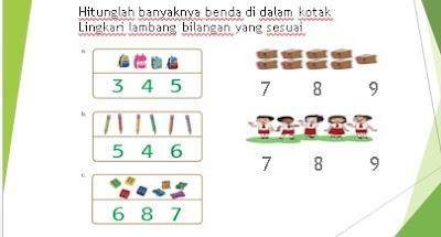Hitunglah banyaknya benda di dalam kotak Lingkari lambang bilangan yang sesuai