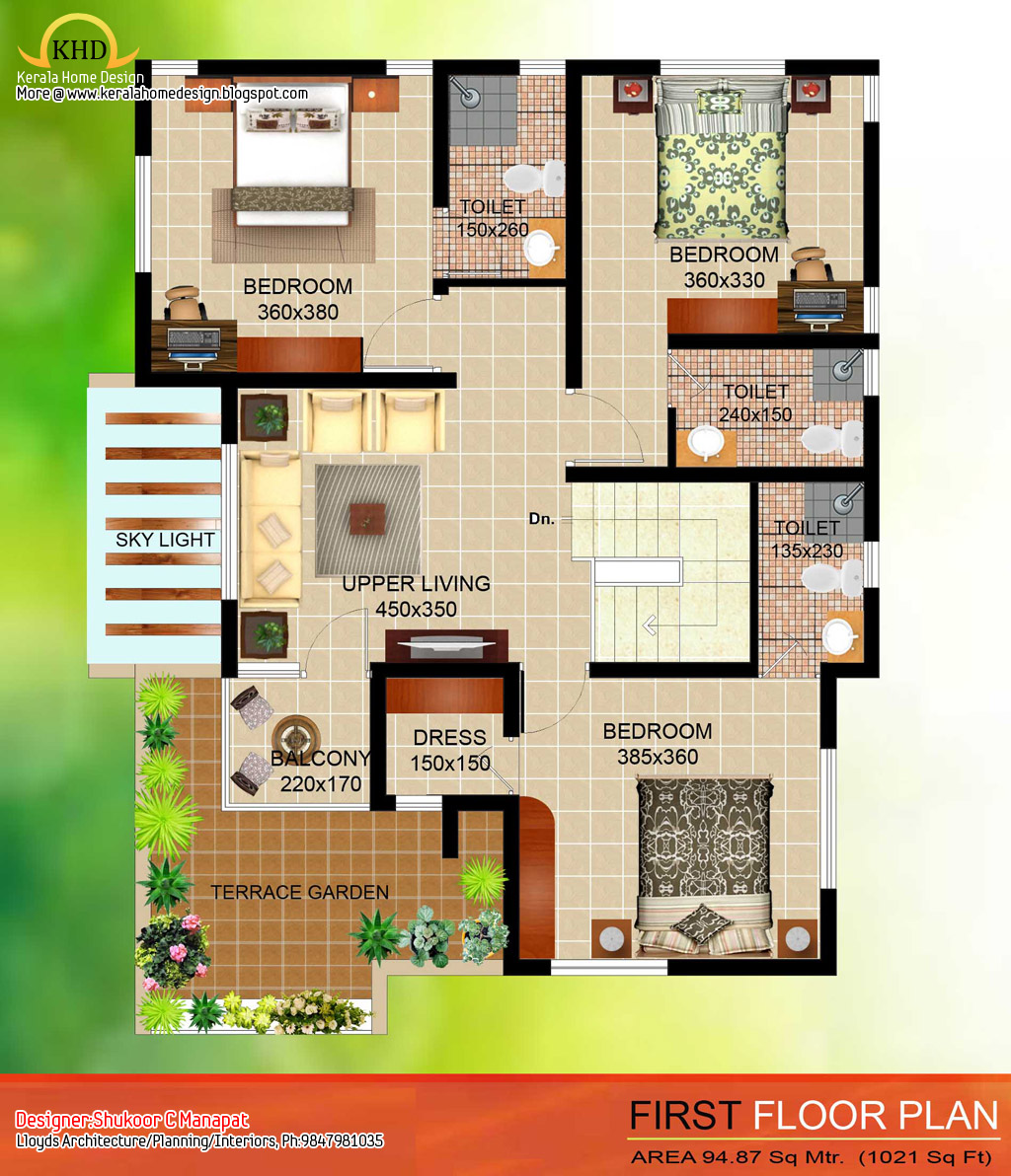 2035 sq ft 4 bedroom contemporary villa elevation and for Contemporary house floor plans