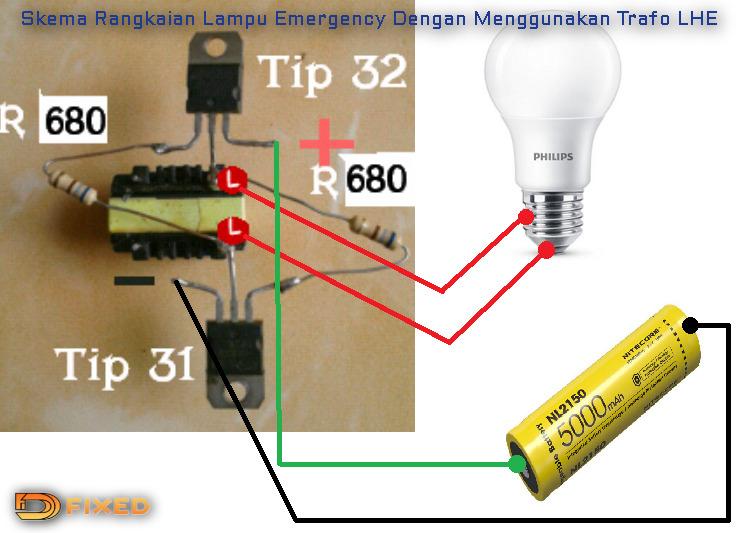 Skema diagram untuk membuat  lampu emergency dengan trafo LHE