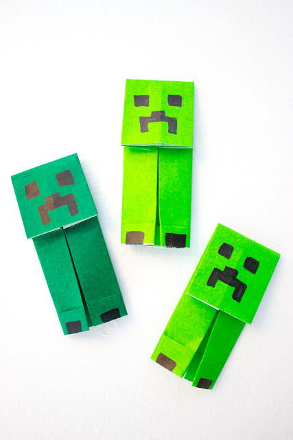 How to fold an easy origami minecraft creeper with kids