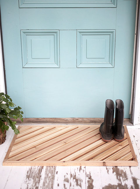 DIY wood plank doormat