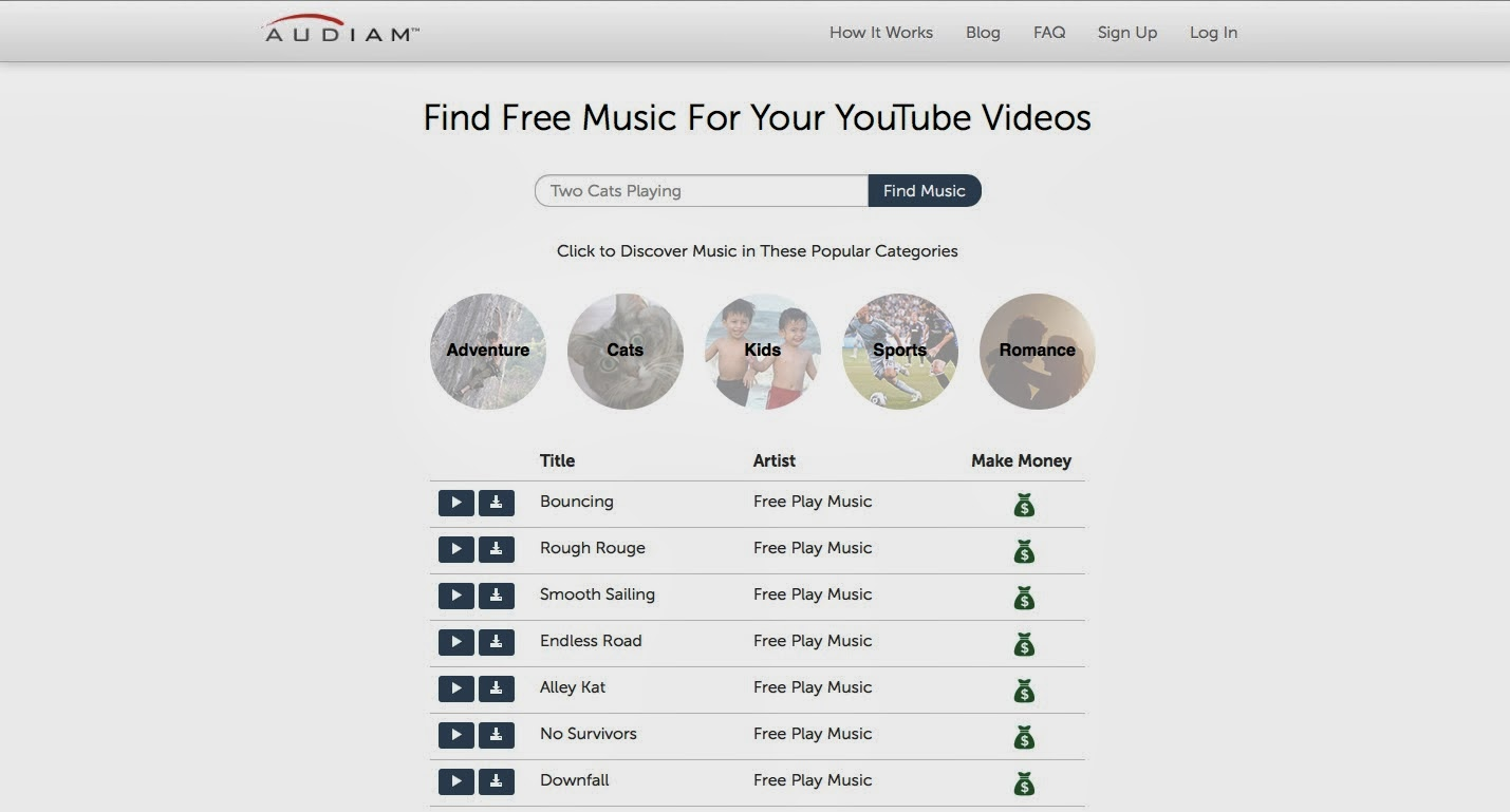 Artistcore Audiam Offers Free Pre Cleared Music For Use By Anyone In Youtube Videos Get Paid To Use The Music