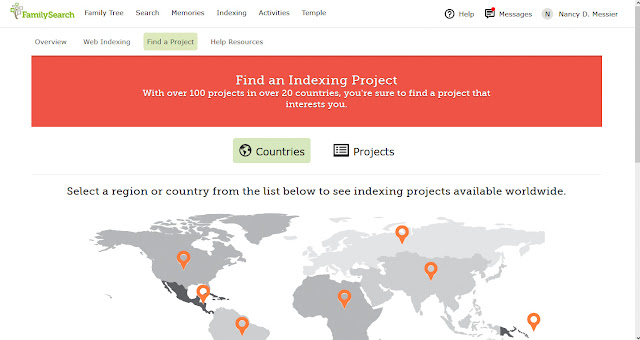 FamilySearch Find a Project Indexing Screen