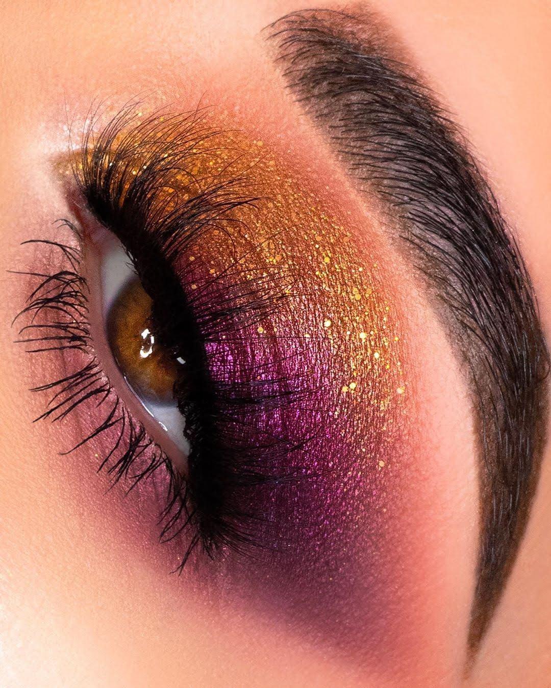 Maquiagem sombra dourada glitter carnaval
