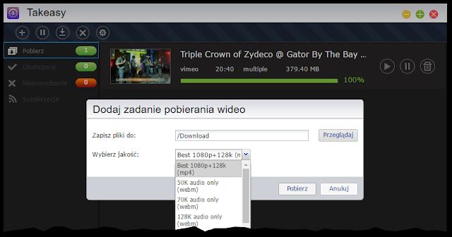 Aplikacja Takeasy do pobierania multimediów z serwisów streamingowych
