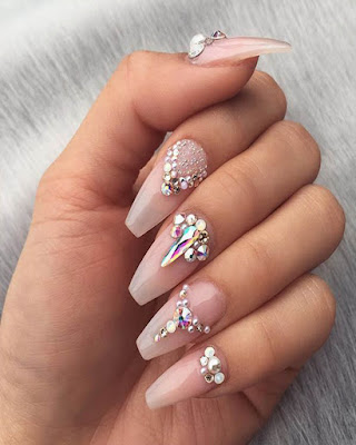 Elegant coffin nail designs with rhinestones