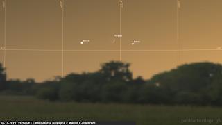 28.11.2019 - koniunkcja Księżyca z Wenus i Jowiszem