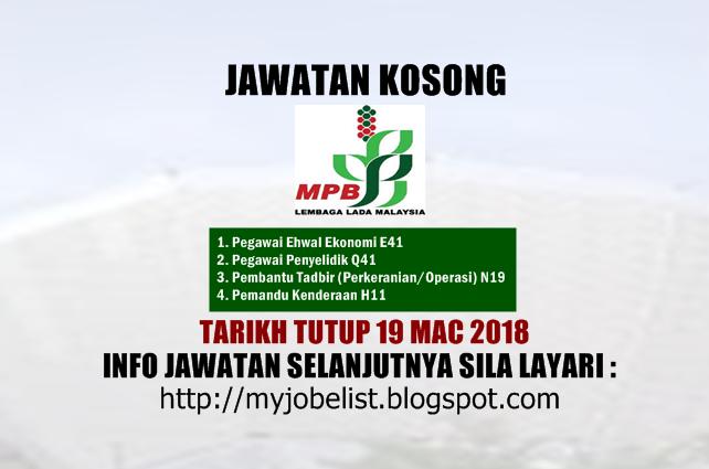 Jawatan Kosong Lembaga Lada Malaysia (MPB) Mac 2018