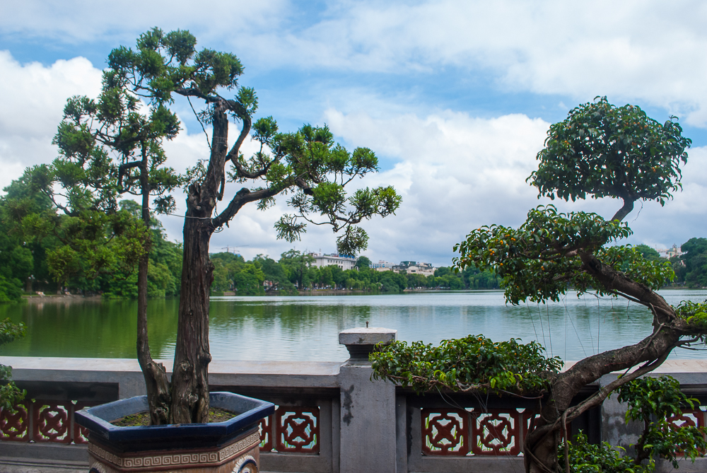 view of the hanoi lake from the temple in the middle of it