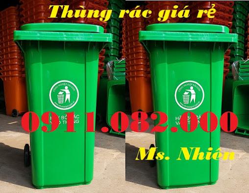 Thùng rác 120 lít 240 lít giá rẻ nhất thị trường- thùng rác màu xanh