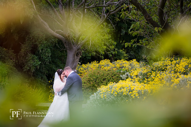 bride and groom in grounds at backworth hall