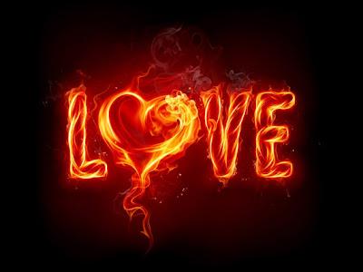 imagen de amor con fuego y la palabra Love