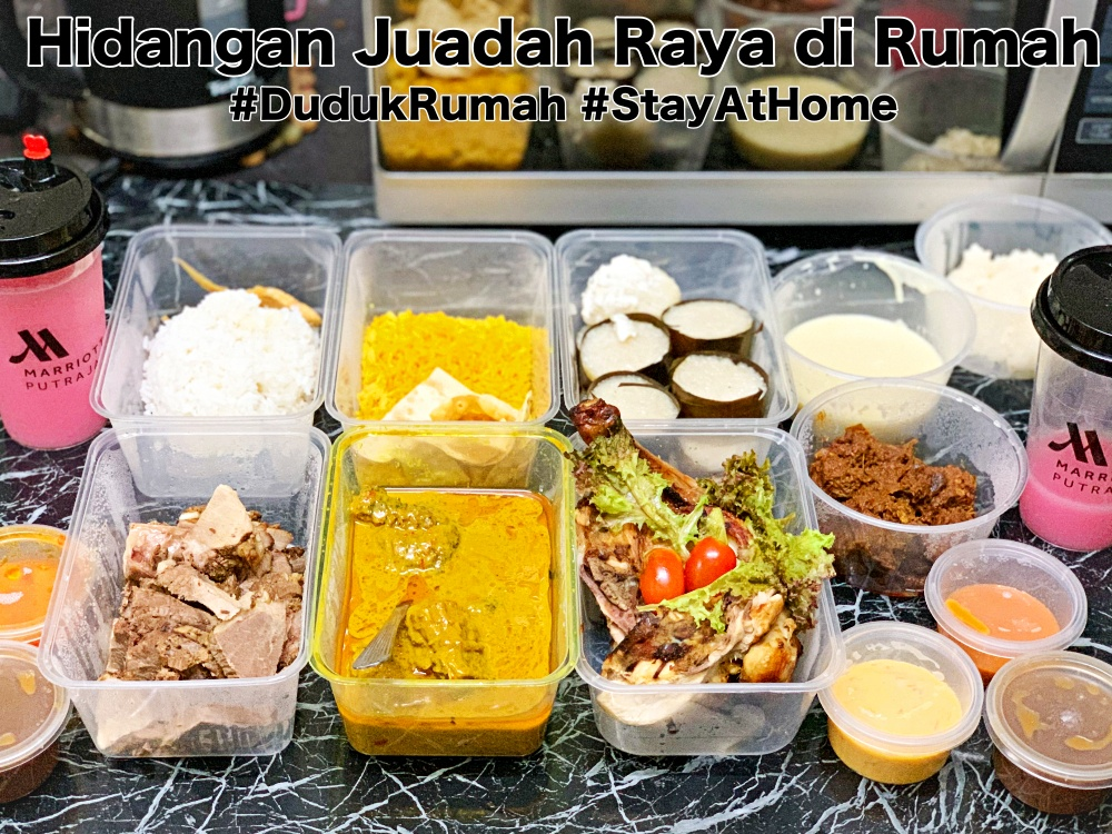 Marriot Putrajaya Hotel, Hidangan Juadah Raya di Rumah, Juadah Raya, Masak Lemak Daging Salai, Masak Lemak Sayur Lodeh bersama Nasi Impit, Nasi Beriani, Kambing Golek, Ayam Golek, Stay At Home, Rawlins Eats, Rawlins GLAM, Movement Control Order, New Normal,