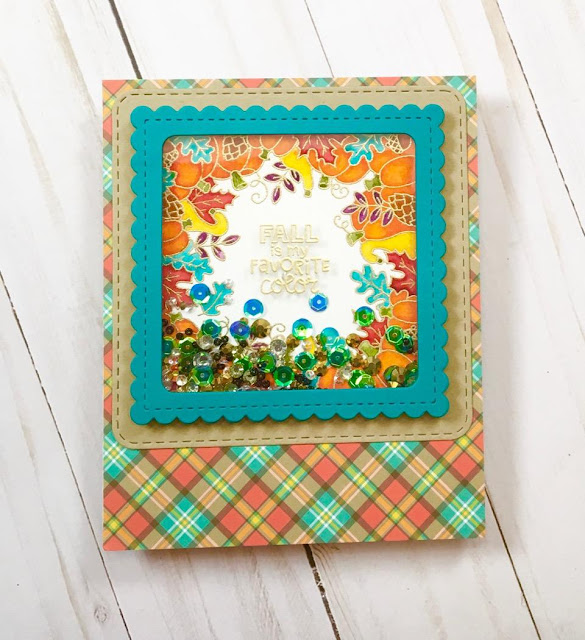 Fall Is My Favorite Color Card by September Guest Designer Stephanie Davis | Fall Fringe Stamp set and Frames Squared Die Set by Newton's Nook Designs #newtonsnook #handmade