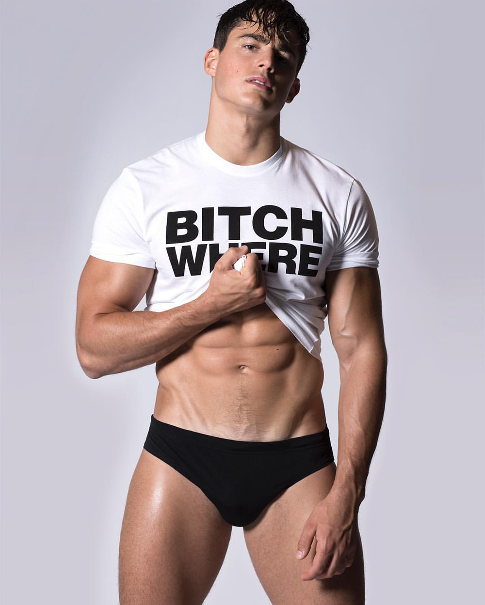 Pietro Boselli models Dsquared2's funny 'Bitch Where' collection