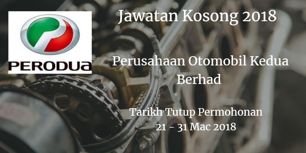 Jawatan Kosong PERODUA 21 - 31 Mac 2018
