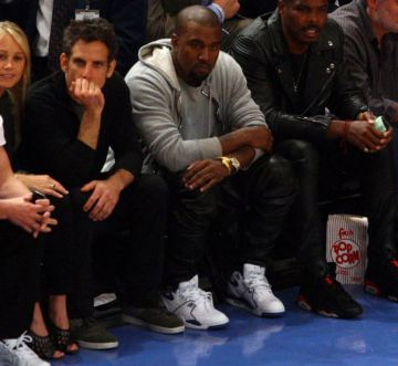 detailed look 2bf08 d84ff Check out Mister Kanye West Wearing a clean pair of Nike Air Flight 89  True  Blue  Sneakers next to the homey Ben Stiller at the Knicks VS Heats Game,  ...