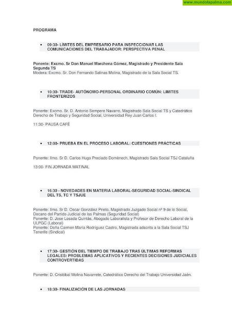 Programa III Jornadas Laborales de La Palma