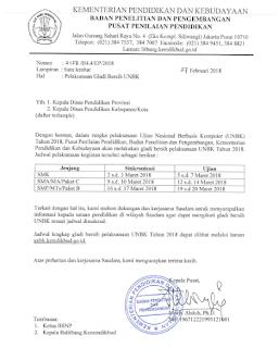 Jadwal Pelaksanaan UNBK Tahun 2018
