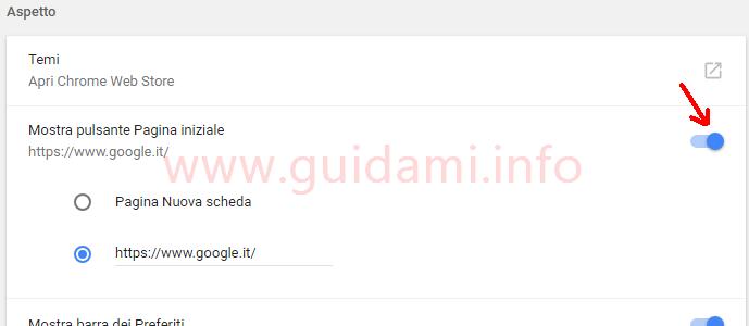 Chrome impostazioni Mostra pulsante Pagina iniziale