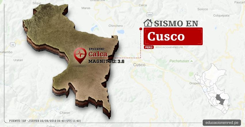 Temblor en Cusco de Magnitud 3.6 (Hoy Jueves 22 Agosto 2019) Sismo - Epicentro - Calca - IGP - www.igp.gob.pe