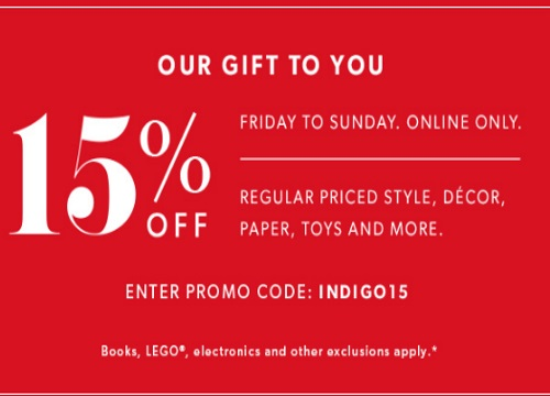 Chapters Indigo 15% Off Weekend Promo Code